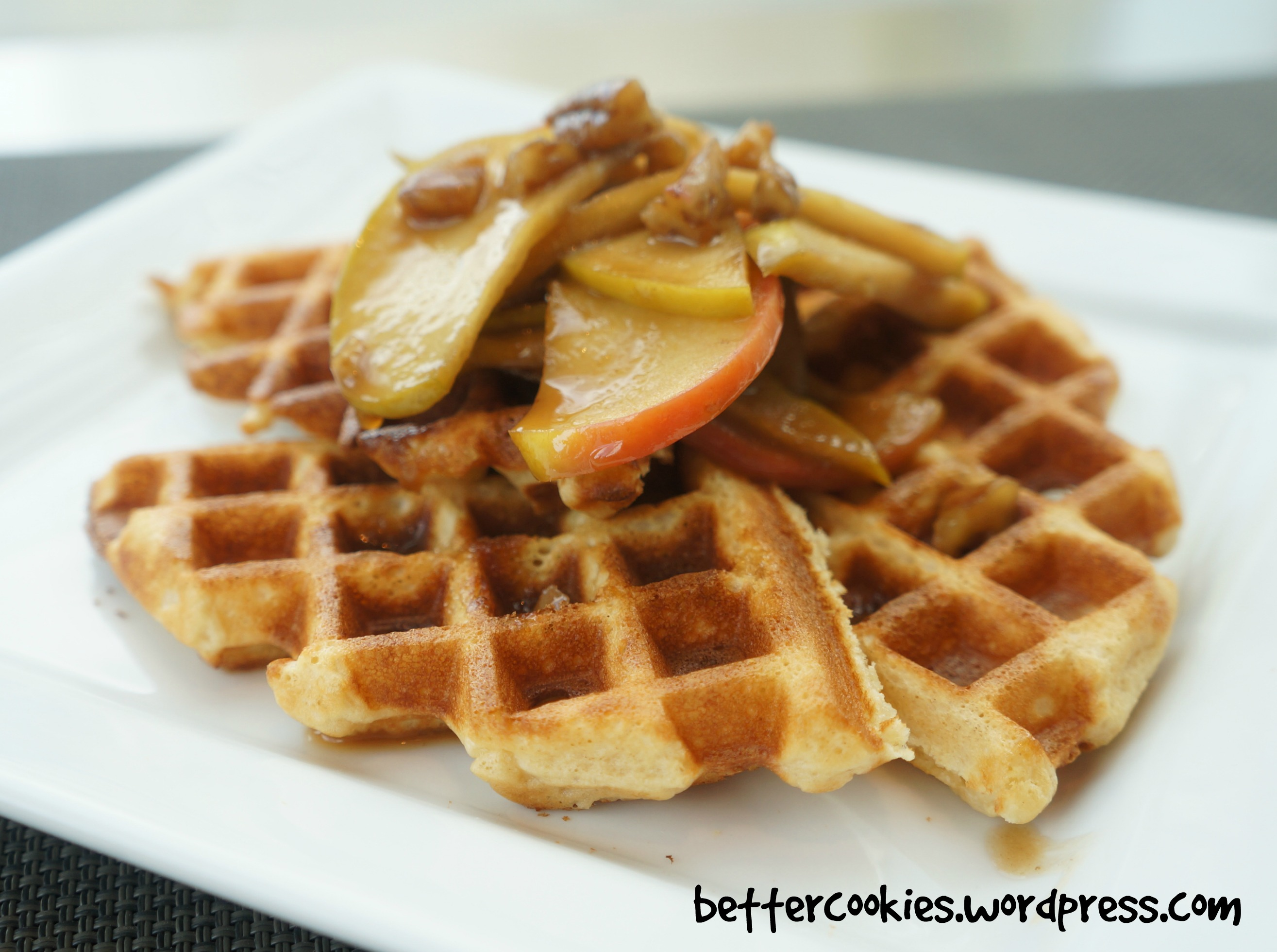 Sour Cream Waffles with Apples and Syrup