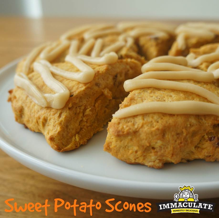 Glazed Candied Ginger Sweet Potato Scones | Goodies & Yum x Immaculate ...